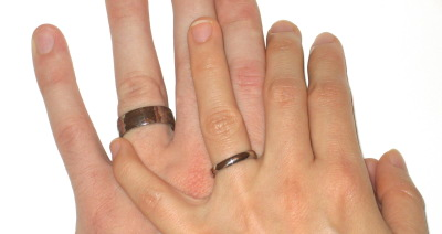 3mm ring and 7mm ring compared to finger and hand size