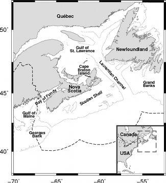 Map of Nova Scotian waters