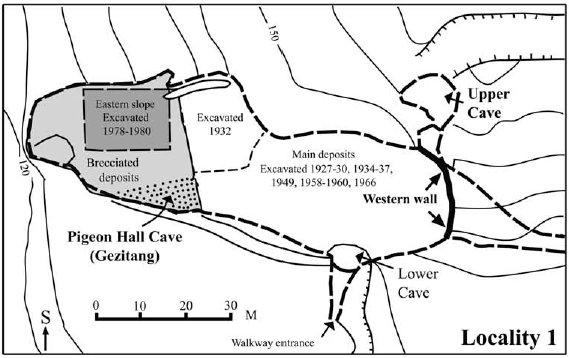 Map of Peking Man site mark from Boaz et al.