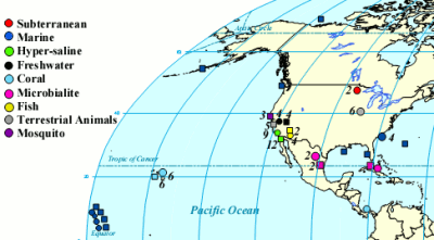 Locations of metagenomic samples from Dinsdale et al.