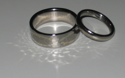 Shiny titanium wedding rings