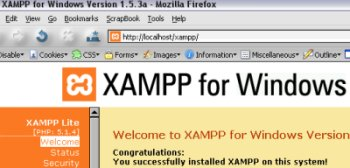 A screenshot of the xampp program
